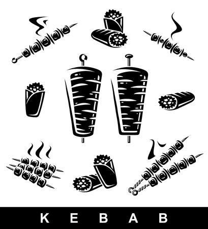 Kebab set. Collection icon kebabs. Vector