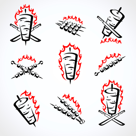 Kebab labels and elements set. Collection icon kebabs. Vector Vector Illustratie