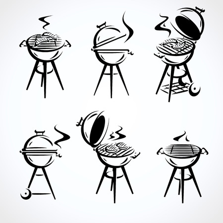 Grill elements set. Collection icon grill. Vector illustration Standard-Bild - 123662759