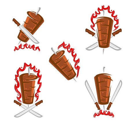 Kebab labels and elements set. Collection icon kebabs. Vector illustration