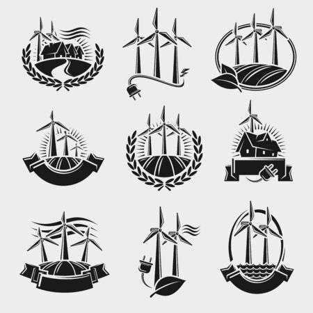 Windmill labels and elements set. Collection icon windmill. Vector