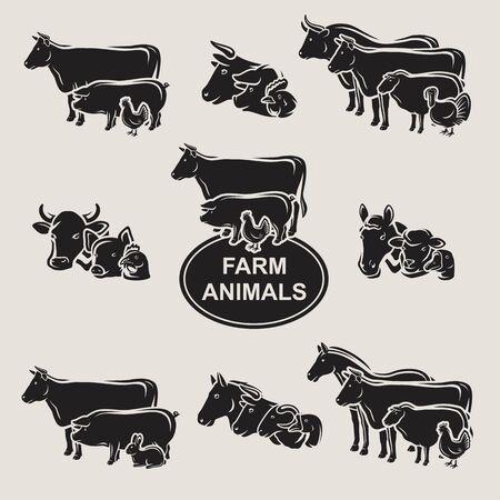 Farm animals set. Collection icon farm animals. Vector