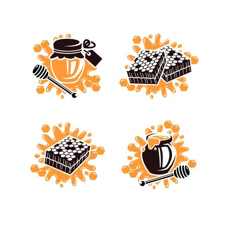 Honey labels and elements set. Collection icon honey. Vector Illustration