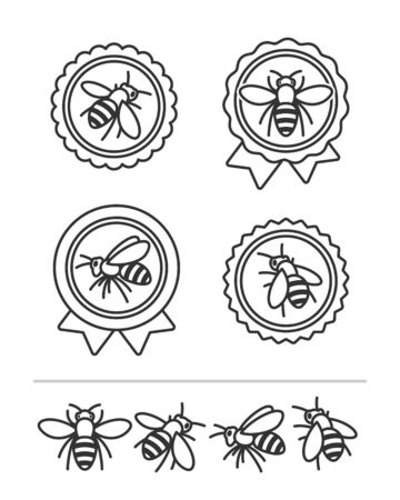 Bee set. Collection icon bee. Vector Illustration