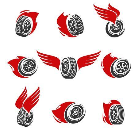 Ensemble de collection de roues de voiture. Roues d'icônes de collection. Vecteur