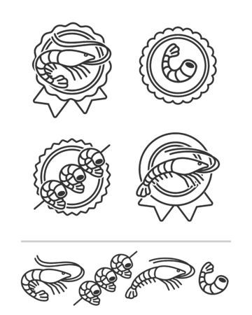 Shrimp set. Collection icon shrimp. Vector  イラスト・ベクター素材