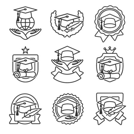 Graduation cap labels set. Collection icon graduation. Vector