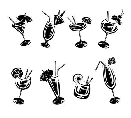 Ensemble de cocktails. Cocktails d'icône de collection. Vecteur