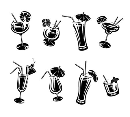 Insieme del cocktail. Cocktail icona di raccolta. Vettore