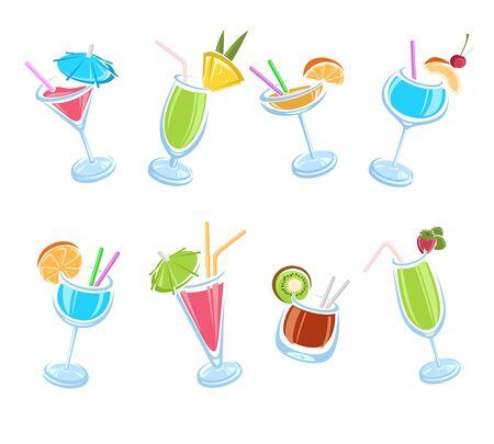 Cocktail set. Collection icon cocktails. Vector