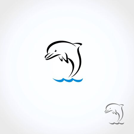 Dolphins set. Collection icon dolphin. Vector Çizim