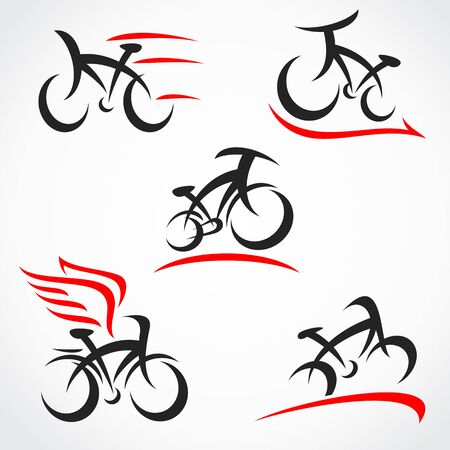 Bicycle set. Collection icon bicycle. Vector Vector Illustratie