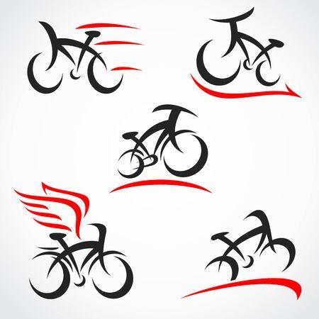 Ensemble de vélos. Vélo d'icône de collection. Vecteur Vecteurs