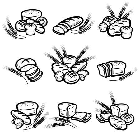 Ensemble de pain. Icônes de pain de collection. Vecteurs