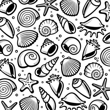 Seashells background. Collection seashells icons.