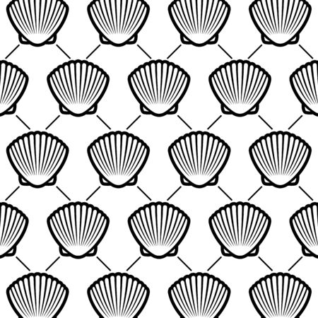 Seashells background. Collection seashells icons. Ilustrace