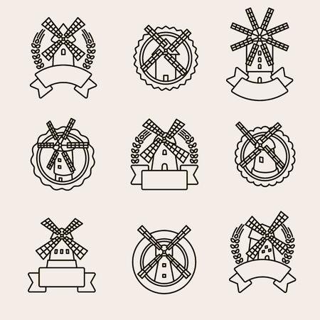 Etichetta del mulino e set di icone. Mulino di icone di raccolta. Vettore