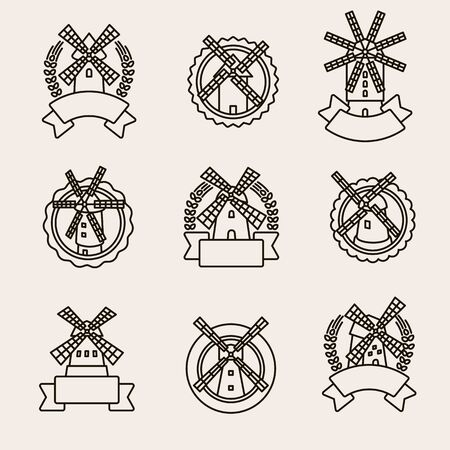 Mill label and icons set. Collection icons mill. Vector Vettoriali