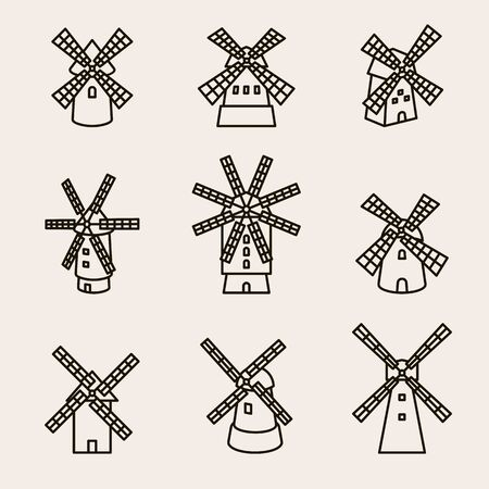 Mill set. Collection icons mill. Vector