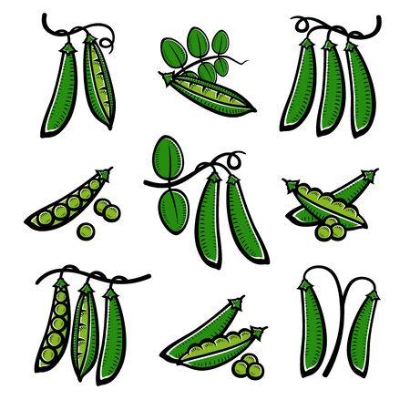 Peas set. Collection icon peas. Vector Stock fotó - 138290517
