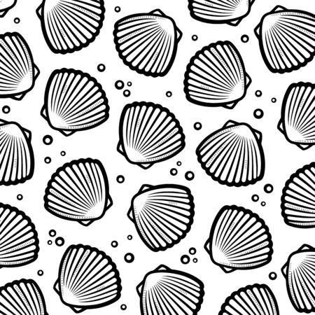Seashells background. Collection seashells icons. Vector 向量圖像