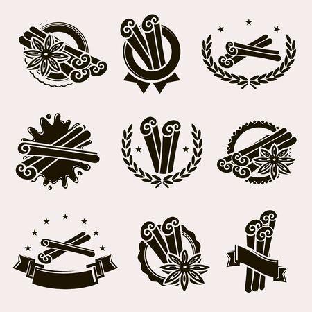 Ensemble d'étiquettes et d'éléments à la cannelle. Collection icône cannelle. Vecteur