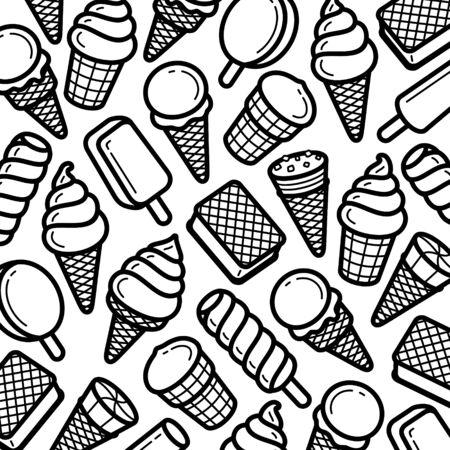 Background ice cream set. Collection icon ice cream. Vector