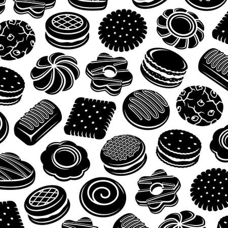 Cookies pattern background set. Collection icon cookies. Vector