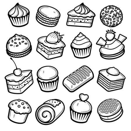 Cake set. Collection icon cake. Vector