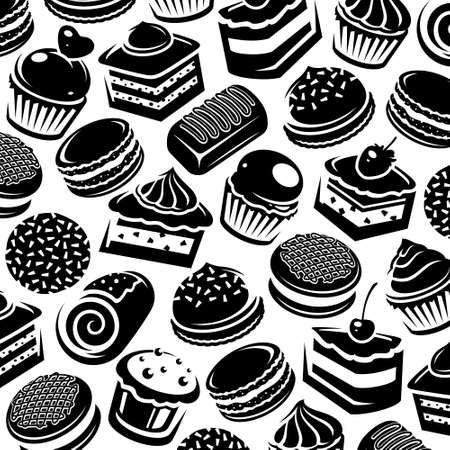 Cake pattern background set. Collection icon cake. Vector
