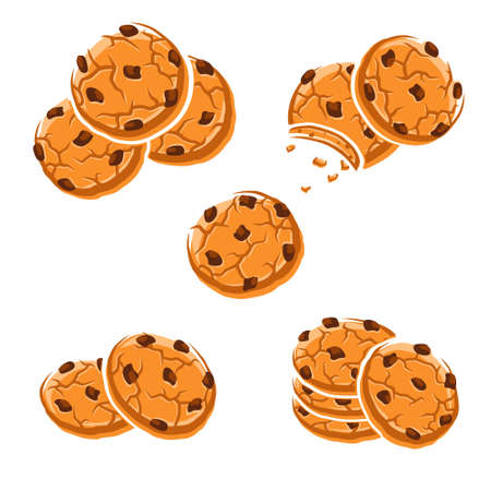 Chocolate chip cookies set. Collection icon chocolate chip cookies. Vector Иллюстрация