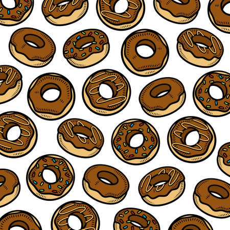 Donut texture background. Collection icons donuts. Vector