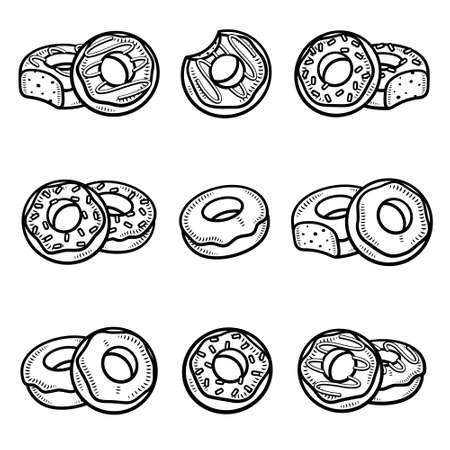 Donut set. Collection icons donuts. Vector