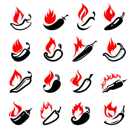Chili and pepper set. Collection icon pepper. Vector