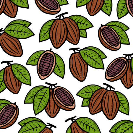 Cacao beans pattern background set. Collection icon cacao beans. Vector Иллюстрация
