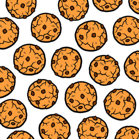Chocolate chip cookies pattern background set. Collection icon chocolate chip cookies. Vector