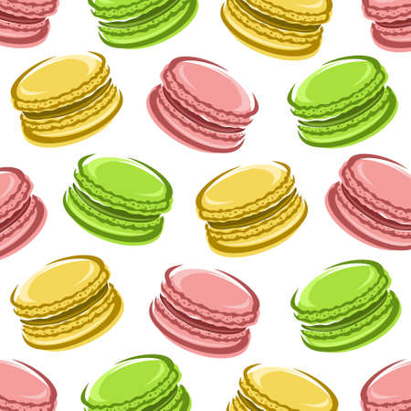 Macaroon pattern background set. Collection icon macaroon. Vector Иллюстрация