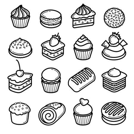 Cake set. Collection icon cake. Vector