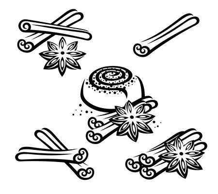Cinnamon set. Collection icon cinnamon. Vector Иллюстрация
