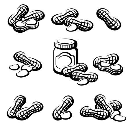 Peanuts set. Collection icon peanuts. Vector