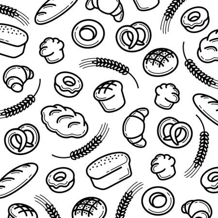 Bread pattern background. Collection bread icons. Vector