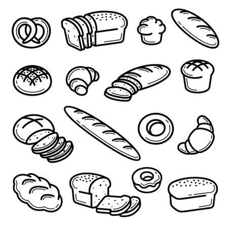 Bread set. Collection bread icons. Vector