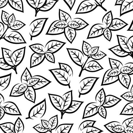 Mint leaves pattern background. Collection mint leaves icons. Vector Иллюстрация