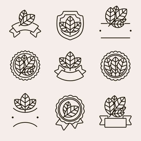 Tobacco leaf label and icons set. Collection icon tobacco. Vector Иллюстрация
