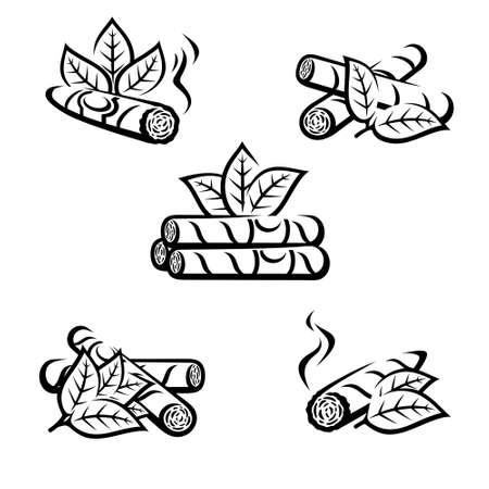 Cigars set. Collection icon cigars. Vector
