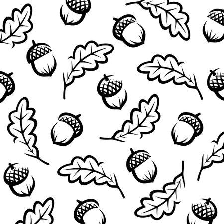 Acorns pattern background set. Collection icon acorns. Vector