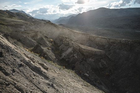 canyon after the massive earthquake with rockfall