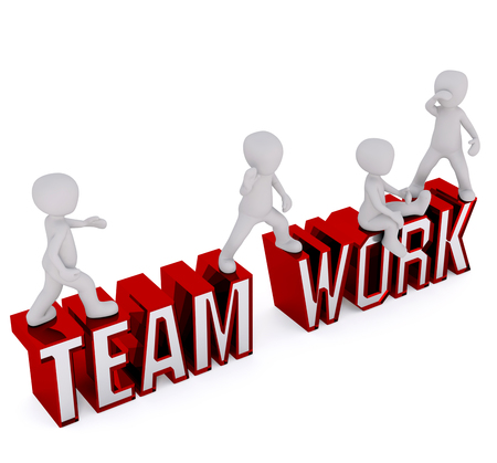 Working team, team of workers, Concept in style 3d. White men vodole letters inscription team work.