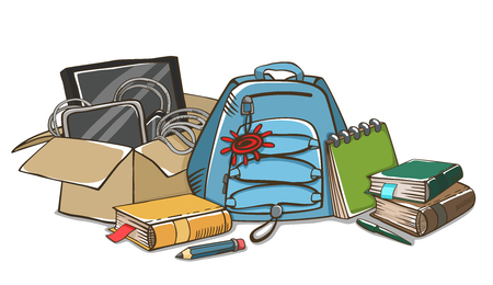 Education and back to school background with school supplies, box, backpack, accessories. School or office stuff. Ilustração