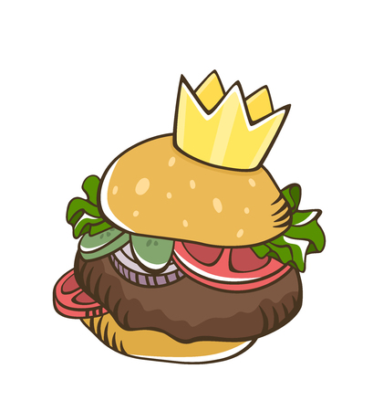 Burger with crown salad beef tomato pickle cartoon . Cartoon burger. Fast food